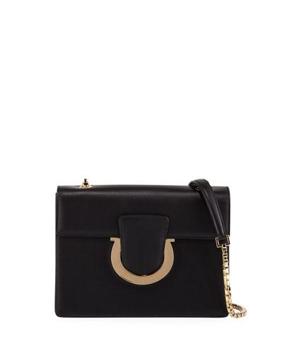 Thalia Medium Leather Gancini Flap Shoulder Bag