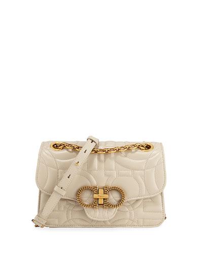 Gancini Quilted Leather Shoulder Bag