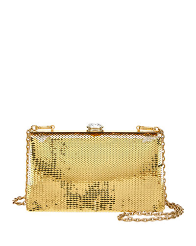 Sequin and Crystal Clutch Bag, Gold