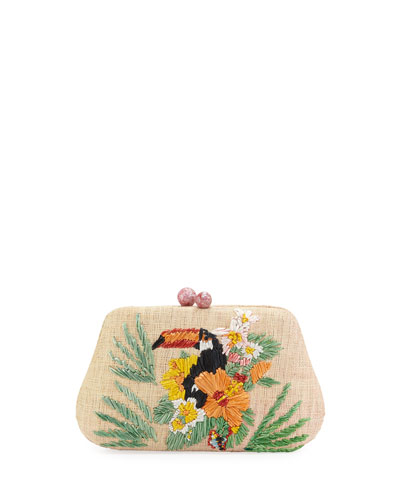 Rosie Toucan Embroidered Clutch Bag