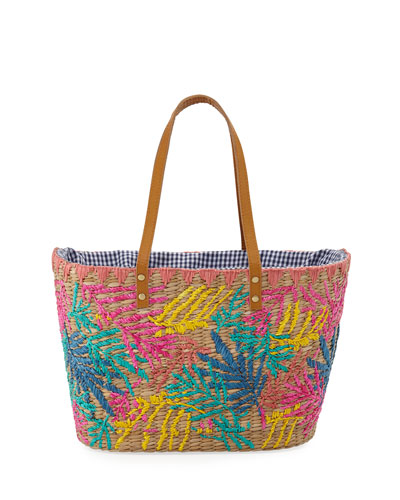 Evelin Embroidered Seagrass Tote Bag
