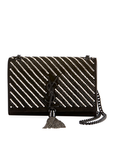Kate Small YSL Monogram Tassel Crossbody Bag with Crystal Stripes