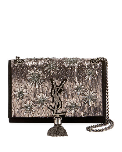 Kate Small YSL Monogram Tassel Crossbody Bag with Beaded Flowers