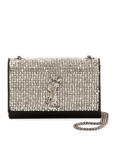 2f39496b7d31 Quick Look. Saint Laurent · Kate Monogram YSL Small Crystal Satin Chain Crossbody  Bag. Available in Black Metallic