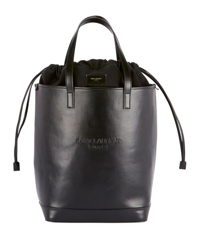 Teddy Harlem Large Leather Bucket Bag with Embossed Logo