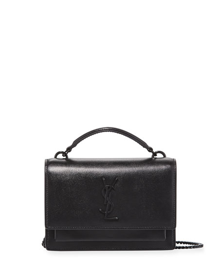 Saint Laurent Sunset YSL Monogram Wallet on Chain - Black Hardware