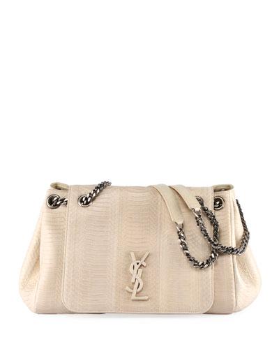 Nolita Medium YSL Monogram Snakeskin Flap Shoulder Bag