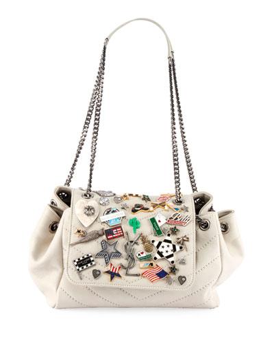 Nolita Small YSL Monogram Flap Shoulder Bag with Pins