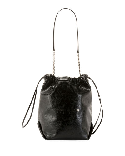Teddy Large Crinkle Leather Drawstring Bucket Bag