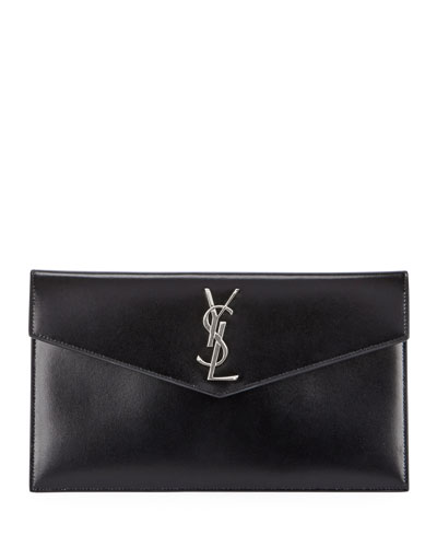 V-Flap YSL Monogram Leather Pouch Clutch Bag