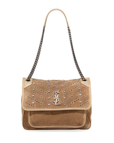 Niki Monogram YSL Medium Suede Shoulder Bag
