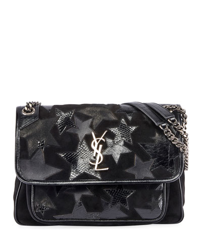 Niki Medium YSL Monogram Stars Flap Shoulder Bag