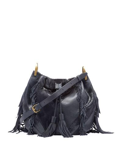 Jeeba Patchwork Fringe Shoulder Bag
