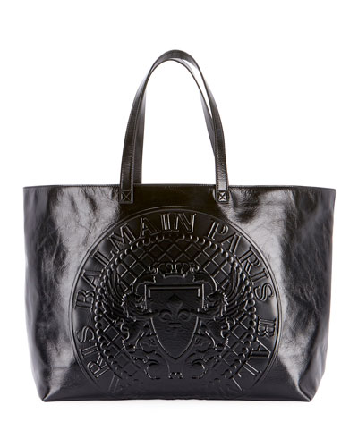 Cabas Cuir Lisse Shopping Tote Bag