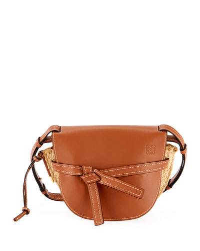 Gate Small Soft Calf & Raffia Shoulder Bag