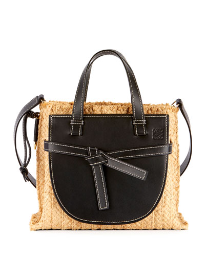 Gate Small Raffia Top-Handle Tote Bag