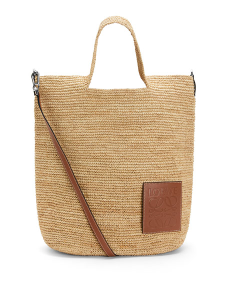 Loewe x Paula's Ibiza Slit Raffia and Calf Shoulder Bag