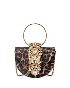 Gedebe Brigitte Mini Jeweled Leopard Top-Handle Bag