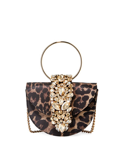 Brigitte Mini Jeweled Leopard Top-Handle Bag