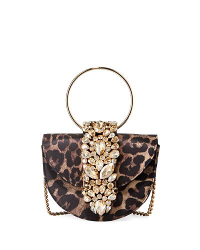 Brigitte Mini Jeweled Leopard Top-Handle Bag