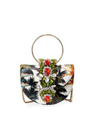 Gedebe Brigitte Mini Jeweled Botanical Top-Handle Bag