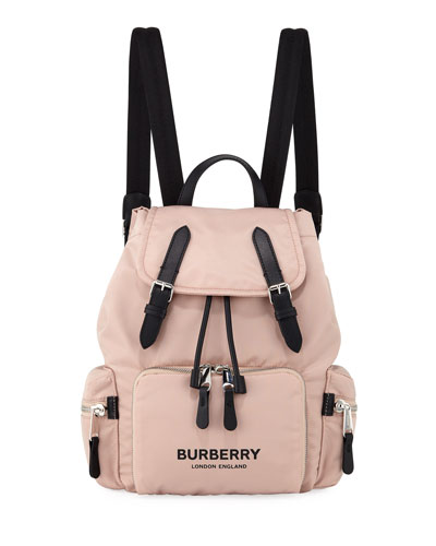 Nylon Medium Drawstring Rucksack Backpack, Pink