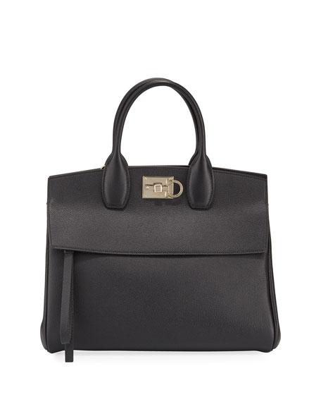 Salvatore Ferragamo Studio Medium Grainy Leather Satchel Bag