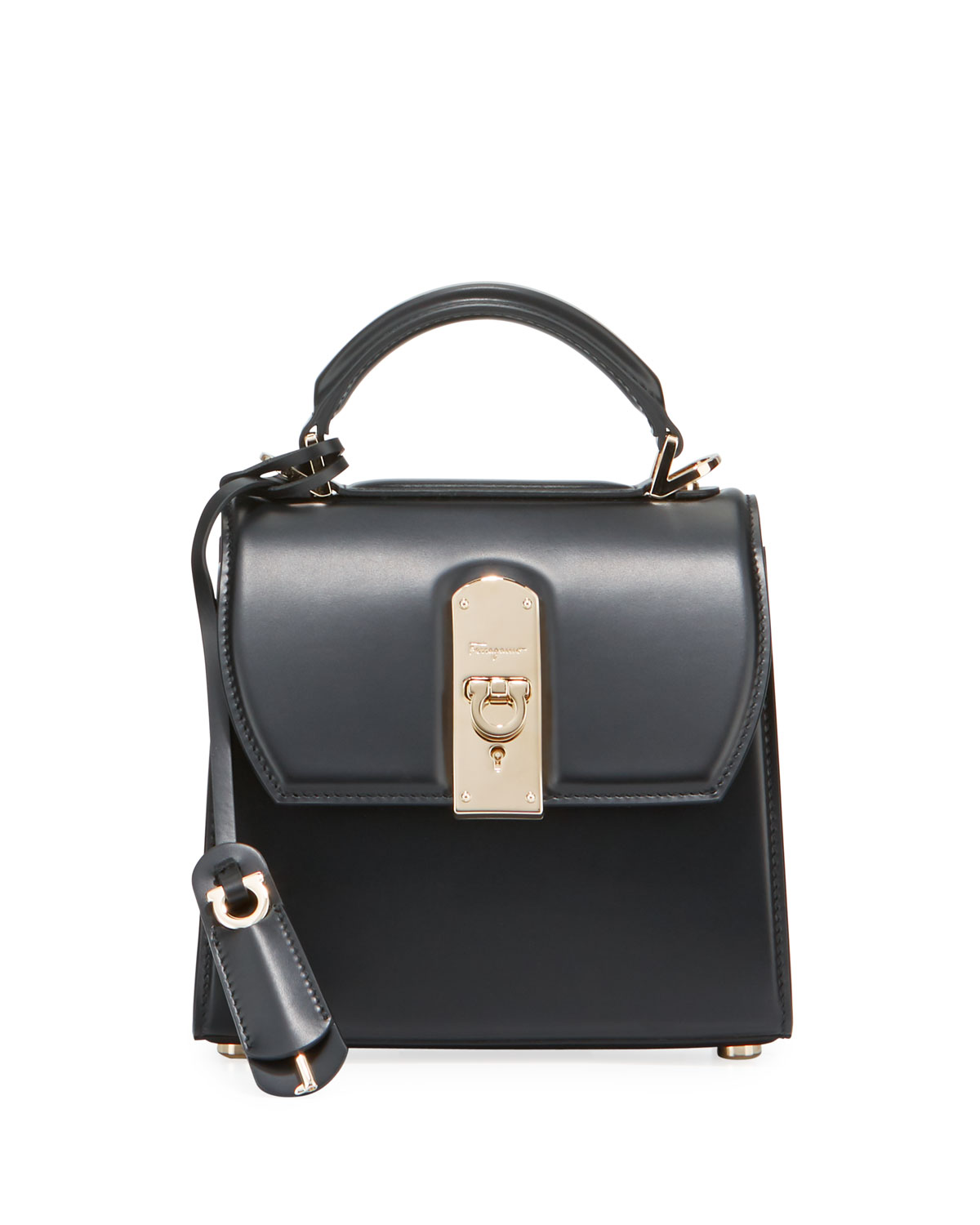 Salvatore Ferragamo Boxyz Piccolo Leather Shoulder Bag In Black