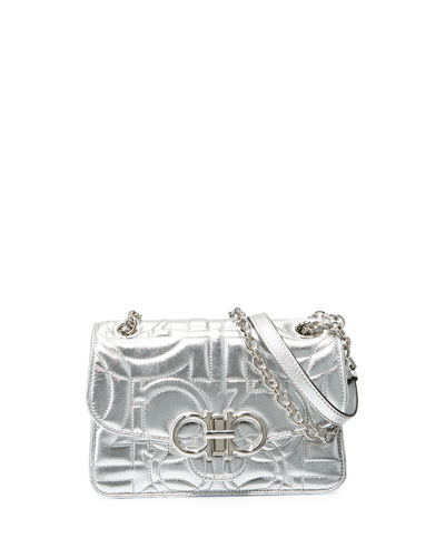 Gancio Quilted Metallic Crossbody Bag