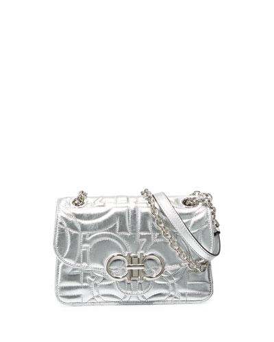 Gancio Quilted Metallic Crossbody Bag
