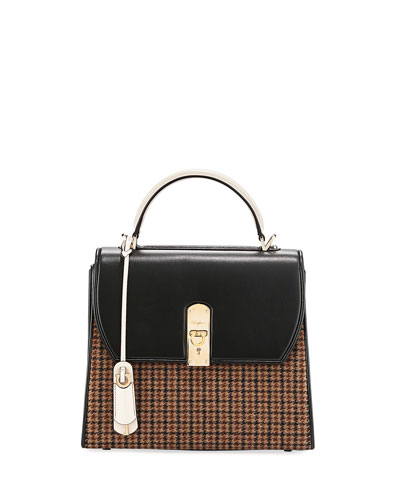 Boxy Medio Plaid Satchel Bag