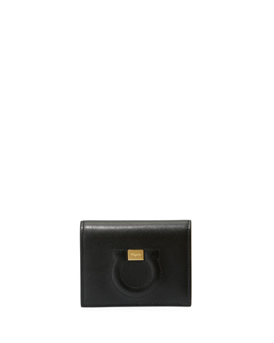 Gancio City Leather Wallet, Black
