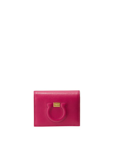 Gancio City Leather Wallet, Pink