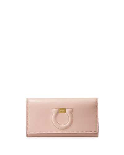 Gancio City Leather Wallet Bag, Light Pink