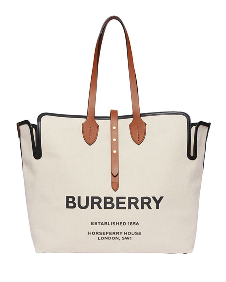 Burberry Large Soft Belted Canvas Tote Bag
