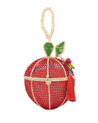 Mercedes Salazar Red Apple Raffia Top-Handle Bag
