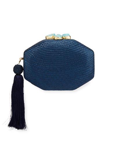 Sofia Woven Octagon Clutch Bag, Blue