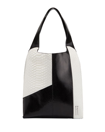Grand Shopper Python Tote Bag, Black/White