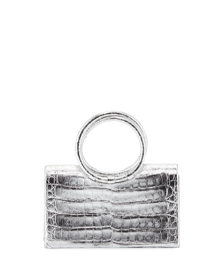Nancy Gonzalez Regina Small Crocodile Circle-Handle Clutch Bag