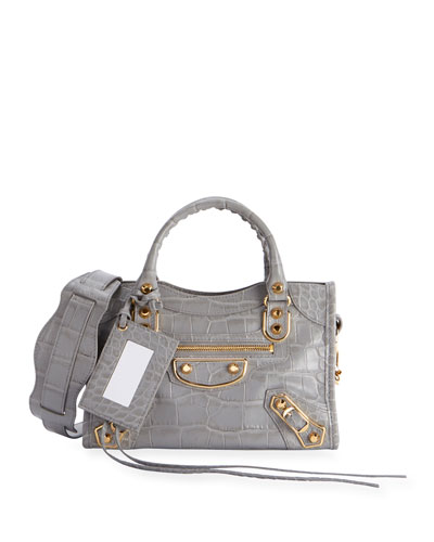 Metallic Edge Mini City AJ Croc-Embossed Bag