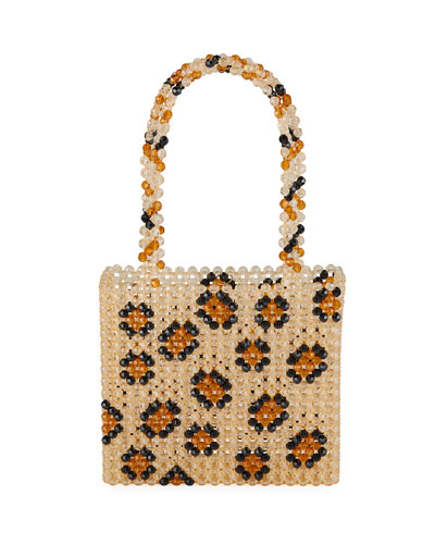 Leopard-Print Beaded Top Handle Bag
