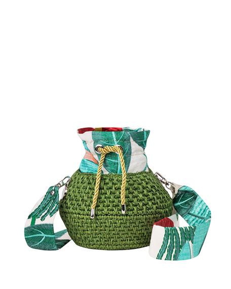 Maison Alma Diamond Basket Embroidered Bucket Bag