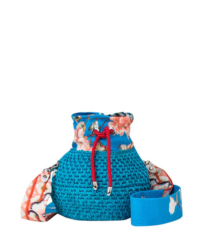 Diamond Basket Woven Bucket Bag