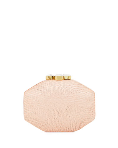 Sofia Straw Clutch Polygon Bag, Pink
