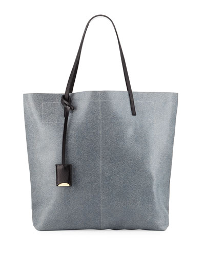 Leather Medium Tote Bag, Blue