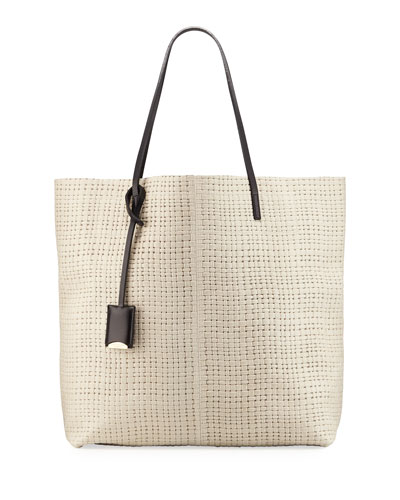 Leather Medium Tote Bag, Ivory