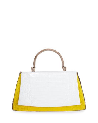 Medium Colorblock Crocodile Top-Handle Bag