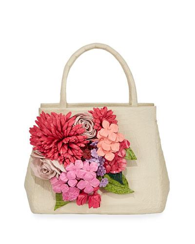 Floral Daisy Crocodile Top-Handle Bag