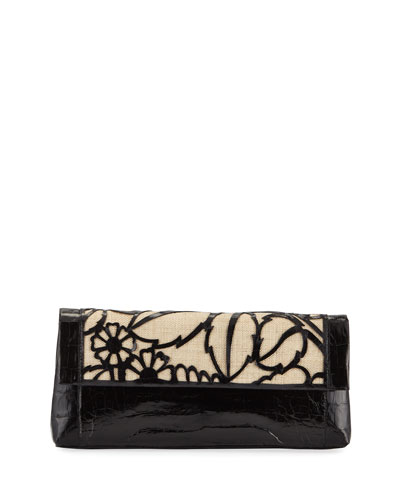 Floral Gotham Crocodile Clutch Bag