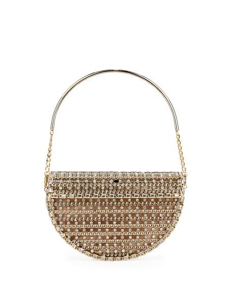 Rosantica Goldie Half-Moon Crystal Cage Minaudiere Bag